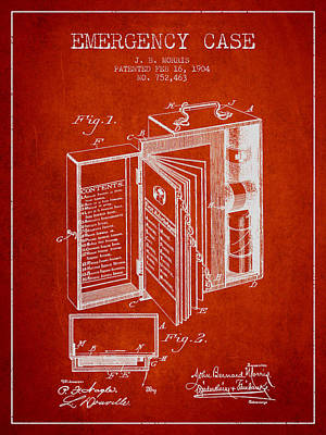 Emergency Case Patent From 1904 - Red Art Print by Aged Pixel
