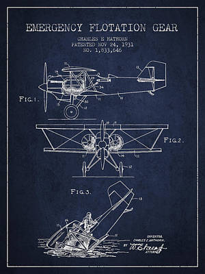 Transportation Digital Art - Emergency flotation gear patent Drawing from 1931 by Aged Pixel
