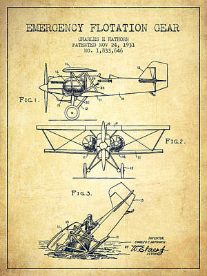 Transportation Digital Art - Emergency flotation gear patent Drawing from 1931-Vintage by Aged Pixel
