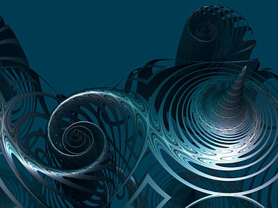 Silver Turquoise Digital Art - Emerging From The Depth by Hakon Soreide