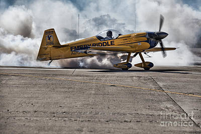 Emery Photograph - Emery Riddle-runway Burnout by Douglas Barnard