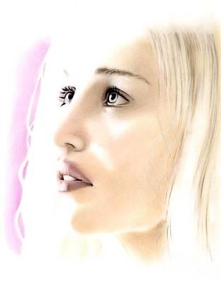 Pastel - Emilia Clarke Portrait by Wu Wei