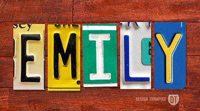 Mixed Media - Emily License Plate Name Sign Fun Kid Room Decor by Design Turnpike