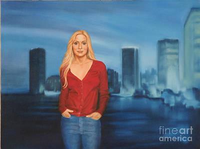 Miami Skyline Painting - Emily  Miami Skyline by Guy C Lockwood