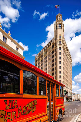 Emily Morgan Hotel And Red Streetcar - San Antonio Texas Art Print