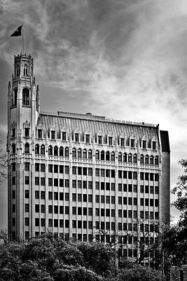 Black And White Photograph - Emily Morgan Hotel In San Antonio by Christine Till