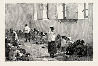 Barrack Drawing - Emin Pashas People  At Home In The Abbassiyeh Barracks by Egyptian School