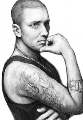 Abstract Pop Drawing - Eminem Art Drawing Sketch Portrait by Kim Wang