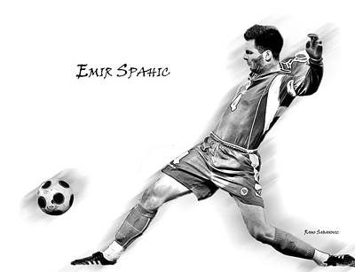 Bosnae Drawing - Emir Spahic by Ramo Sabanovic