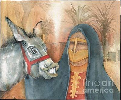 Painting - Emirati Women And Donkey by Donna Acheson-Juillet