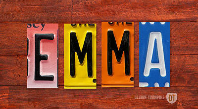 Handmade Mixed Media - Emma License Plate Name Sign Fun Kid Room Decor by Design Turnpike