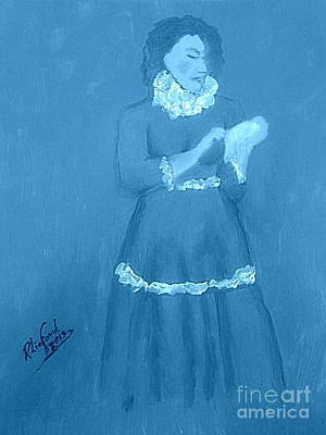 Painting - Emma Smith Pioneer Woman 3 Blue by Richard W Linford