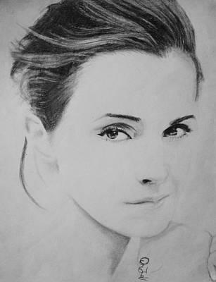 Deathly Hallows Drawing - Emma Watson Minimalist by Jaedin Always