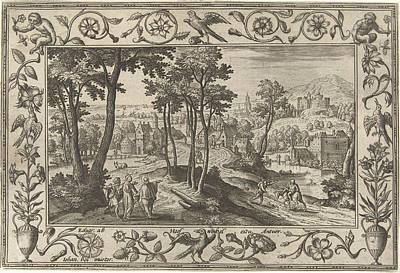 Emmaus, Adriaen Collaert, Eduwart Van Hoeswinckel Print by Adriaen Collaert And Eduwart Van Hoeswinckel