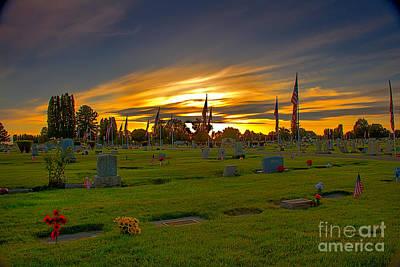 Haybales Photograph - Emmett Cemetery by Robert Bales