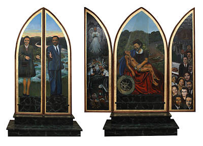 Wilkins Painting - Emmett Till Memorial Triptych With The Outside And The Inside by Art Nomad Sandra  Hansen