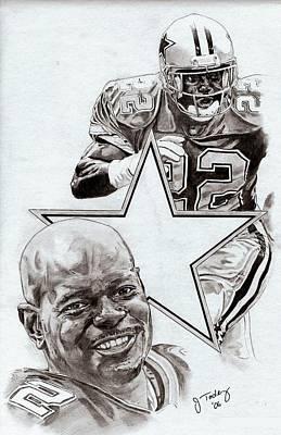 Dallas Cowboys Drawings Drawing - Emmitt Smith by Jonathan Tooley