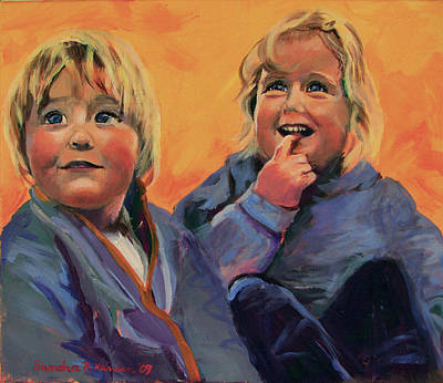 Painting - Emmy And Axel Commissioned Portrait by Art Nomad Sandra  Hansen