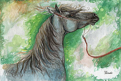Wild Horse Painting - Emon Polish Arabian Horse 1 by Angel  Tarantella
