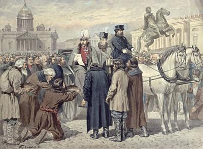 Carriage Horse Photograph - Emperor Alexander II Proclaiming The Emancipation Reform Of 1861, 1880 Colour Litho by Aleksei Danilovich Kivshenko
