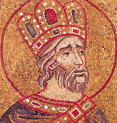 Byzantine Mixed Media - Emperor Constantine I by Byzantine School