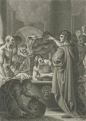 Slaves Drawing - Emperor Hadrian In Bath, Lambertus Antonius Claessens by Lambertus Antonius Claessens