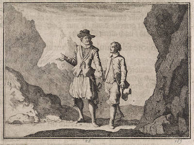 Guardian Drawing - Emperor Maximilian And His Guardian Angel In A Rocky by Caspar Luyken And Christoph Weigel