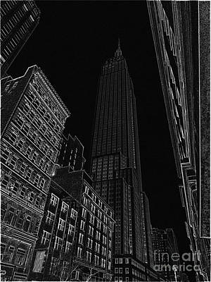 Empire Nyc White On Black Art Print by Meandering Photography