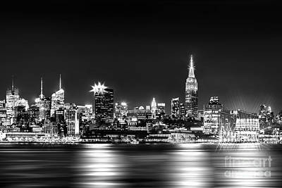 North American Photograph - Empire State At Night - Bw by Az Jackson