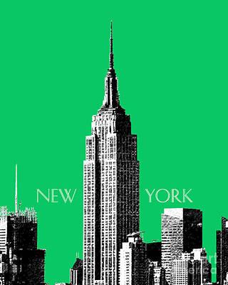 Digital Art - Empire State Building - Green by DB Artist