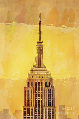 Skylines Digital Art - Empire State Building 4 by Az Jackson