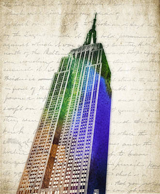 Empire State Building Mixed Media - Empire State Building by Aged Pixel