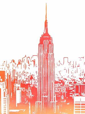 Skylines Royalty-Free and Rights-Managed Images - Empire State Building And Manhattan Skyline Sketch by Dan Sproul
