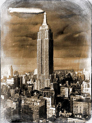 Digital Pastel Painting - Empire State Building Blimp Docking Sepia by Tony Rubino