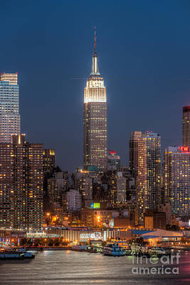 Photograph - Empire State Building By Moonlight I by Clarence Holmes