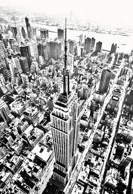 Empire State Building Hdr Bw Art Print by Kim Lessel