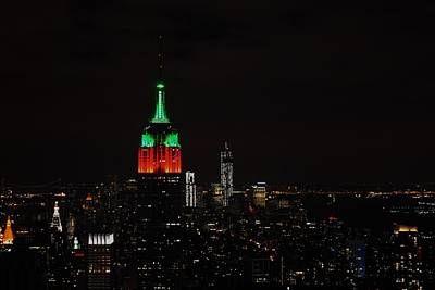 Photograph - Empire State Building Holiday Lights II by Robert  Moss
