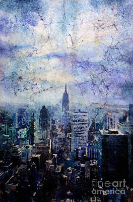 Empire State Building In Blue Art Print by Ryan Fox