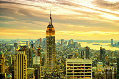 City Scenes Royalty-Free and Rights-Managed Images - Empire State Building in the Evening by Sabine Jacobs