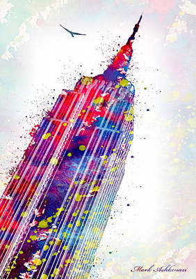 Signed Digital Art - Empire State Building by Mark Ashkenazi