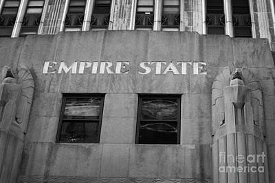 Empire State Building Nameplate Art Deco Gold Writing New York Art Print by Joe Fox