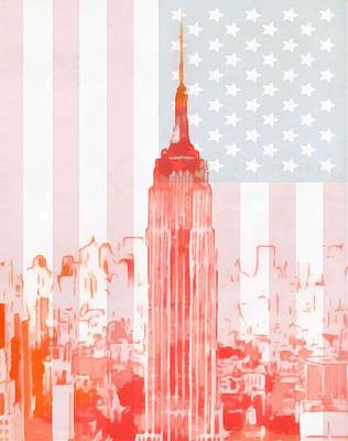 Skylines Paintings - Empire State Building On American Flag by Dan Sproul