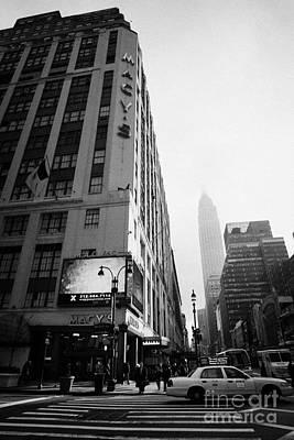 Empire State Building Shrouded In Mist As Pedestrians Crossing Crosswalk On 7th Ave New York Art Print by Joe Fox