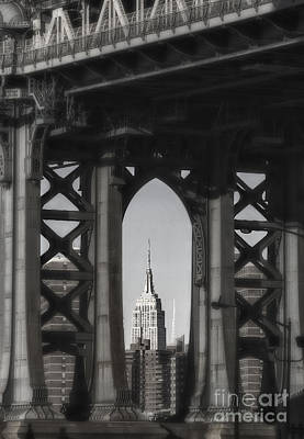 Photograph - Empire State Building Through Manhattan Bridge by Keith Kapple