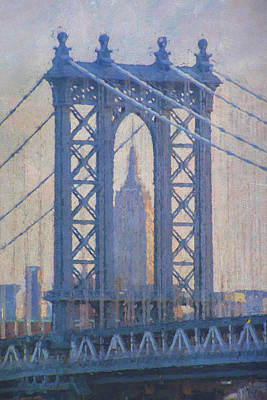 Empire State Building Through The Manhattan Bridge Art Print