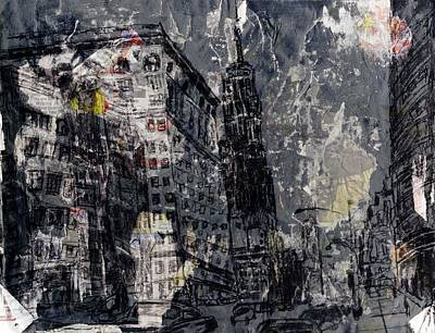 Nyc Mixed Media - Empire State by Lauren Caldwell