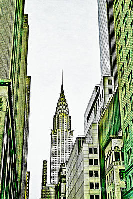 Nyc Mixed Media - Empire State Manhattan by Celestial Images