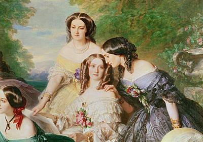 Empress Eugenie 1826-1920 And Her Ladies In Waiting, Detail Of Baronne De Malaret, Nee Nathalie De Art Print by Franz Xaver Winterhalter