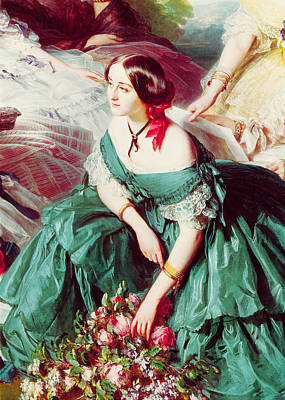 Ladies-in-waiting Photograph - Empress Eugenie And Her Ladies In Waiting, Detail Of The Marquise Of Montebello, 1855 Oil On Canvas by Franz Xaver Winterhalter