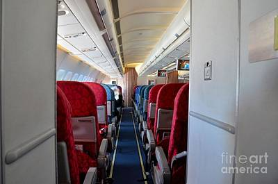 Photograph - Empty Aircraft Seats Inside Airplane Cabin by Imran Ahmed